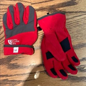The North Face boys red grey winter flannel gloves